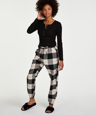 Twill Check pyjama bottoms, Black