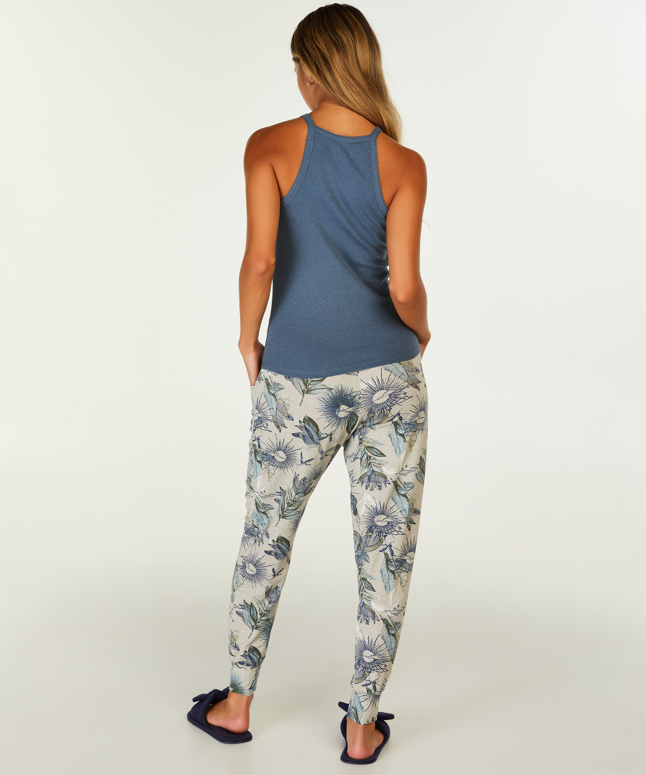 Ribbed Racer Back Top, Blue, main