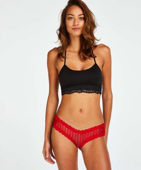 V-shaped Brazilian knickers mesh, Red