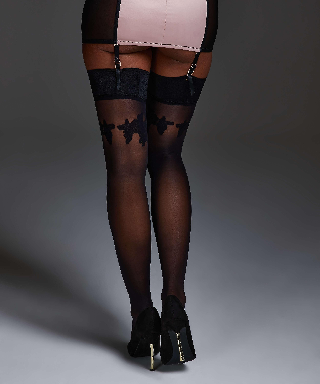 Noir satin top stockings, Black, main