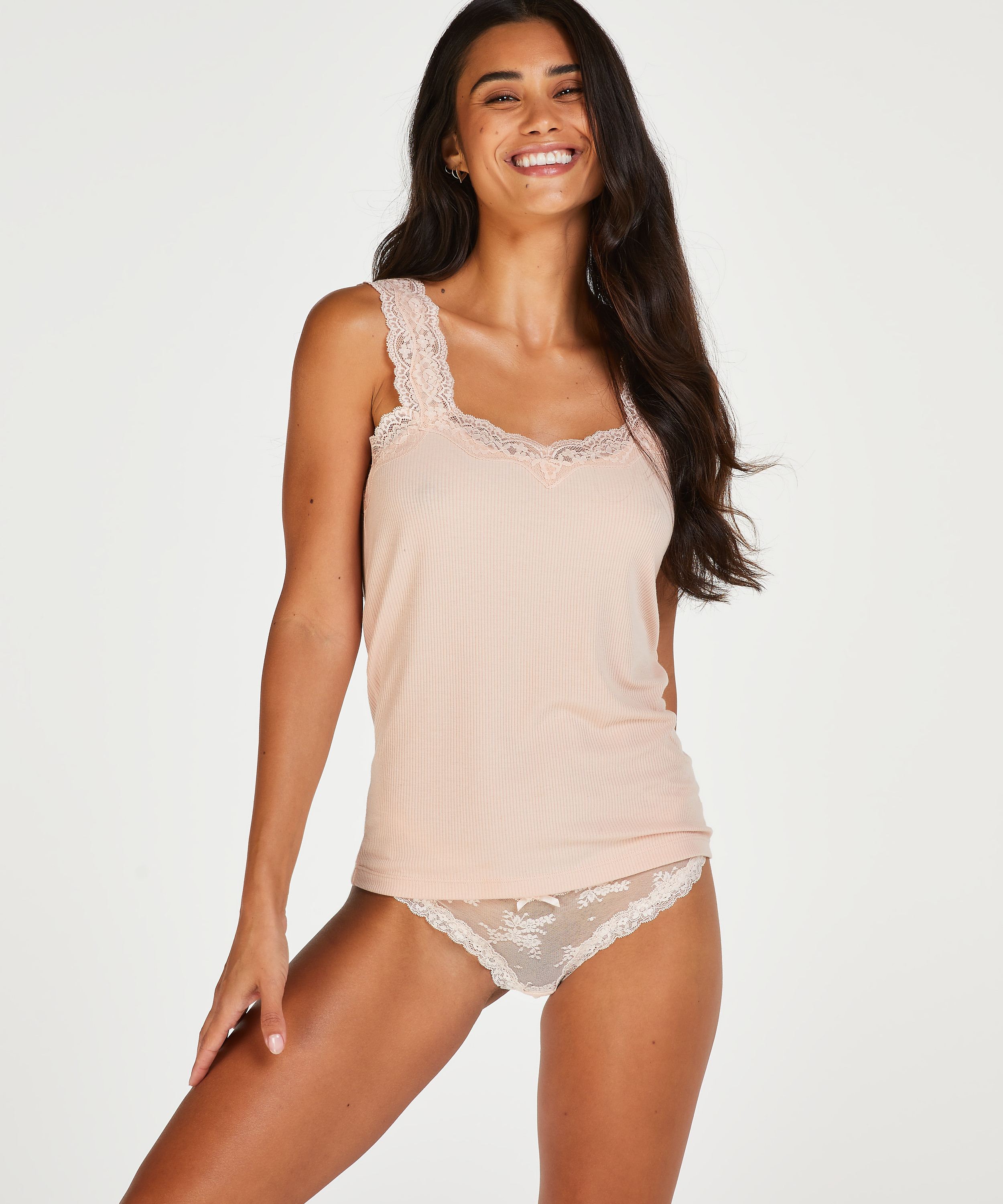 Ribbed Lace Singlet, Beige, main
