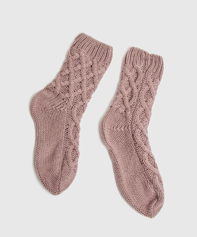 Knit Socks, Purple, main