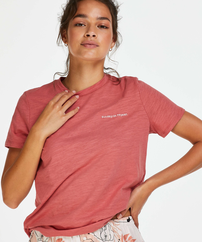 Short-Sleeved Pyjama Top, Pink, main