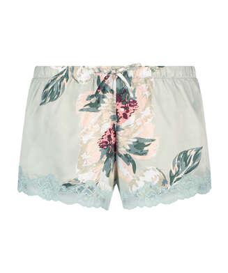 Satin Pyjama Shorts, Blue