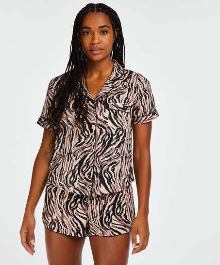 Zebra pyjama top, Beige