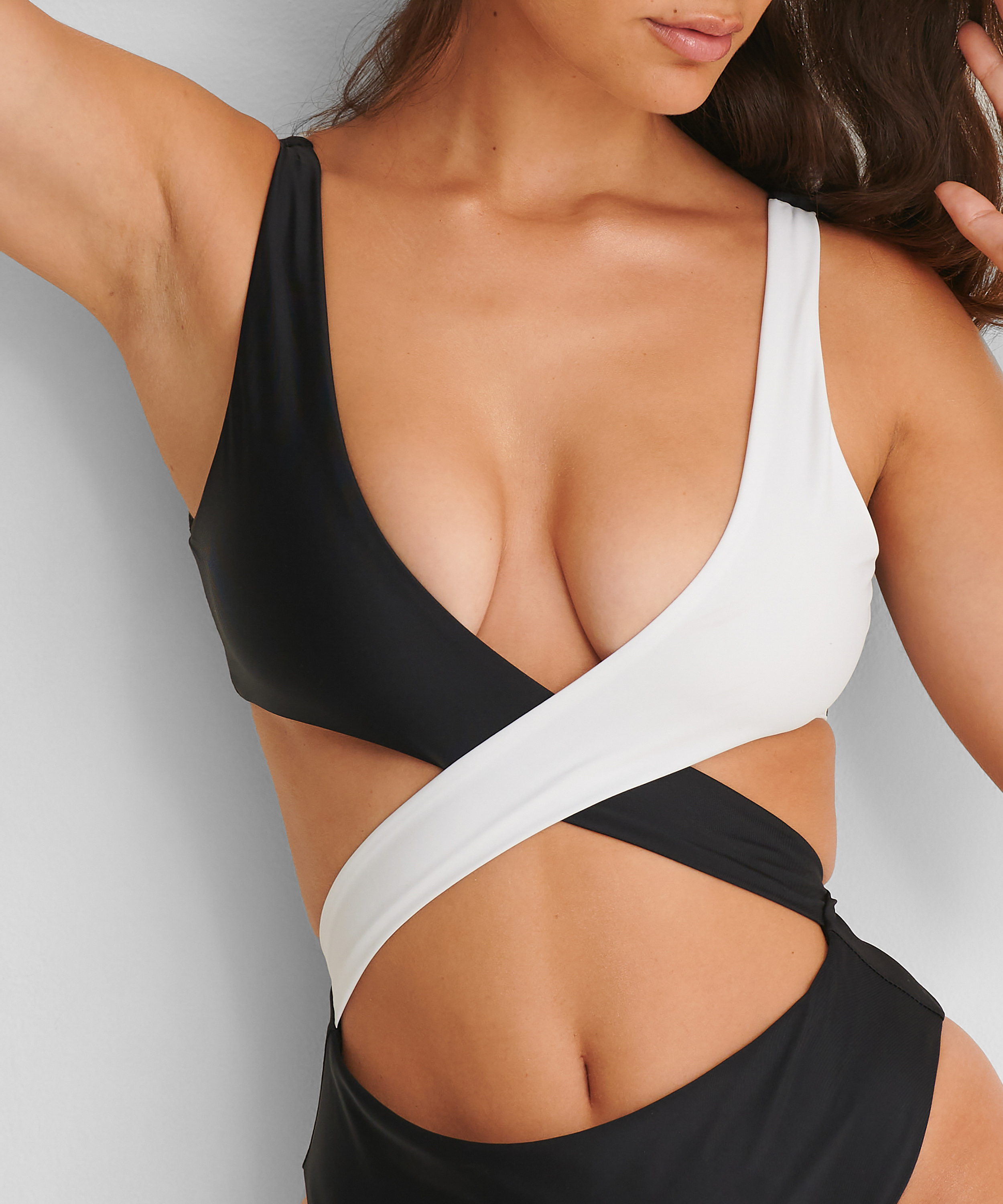 Crossover swimsuit HKM x NA-KD, White, main
