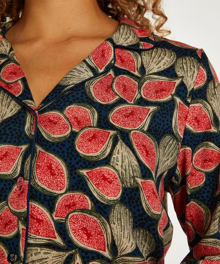 Twill Long-sleeved Pyjama Top, Blue