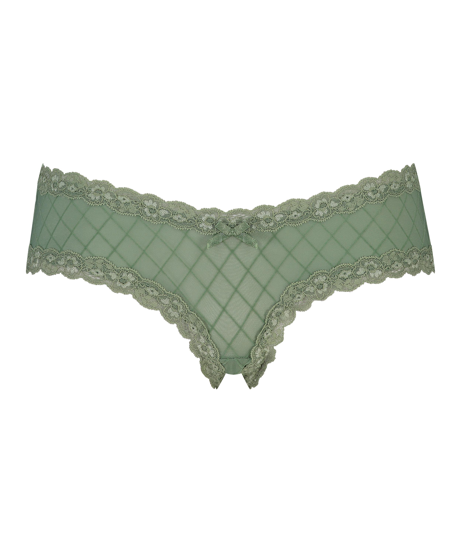 V-shaped Brazilian knickers mesh, Green, main