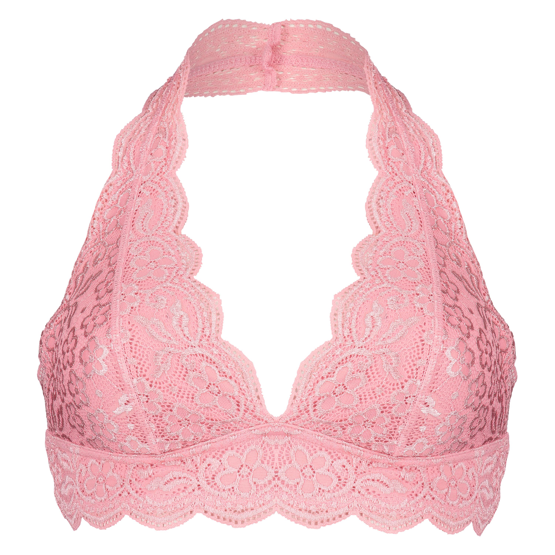 Halter Lace Bralette, Pink, main