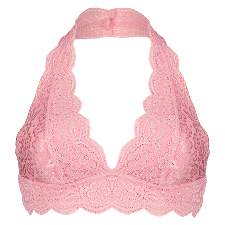 Halter Lace Bralette, Pink