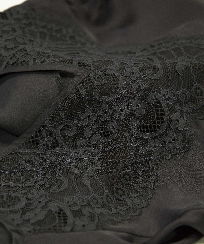 Amelia Satin Slip Dress, Black, main