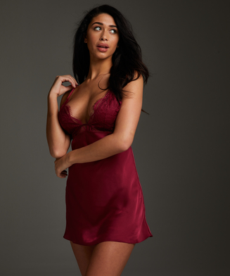 Satin Holly slip dress, Red