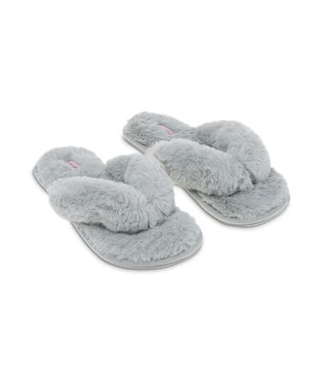 Fake Fur Slippers, Grey
