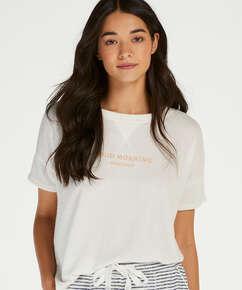 Short sleeve pyjama top in brushed jersey, White