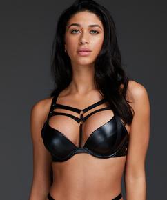 Shadow padded push-up underwired bra, Black