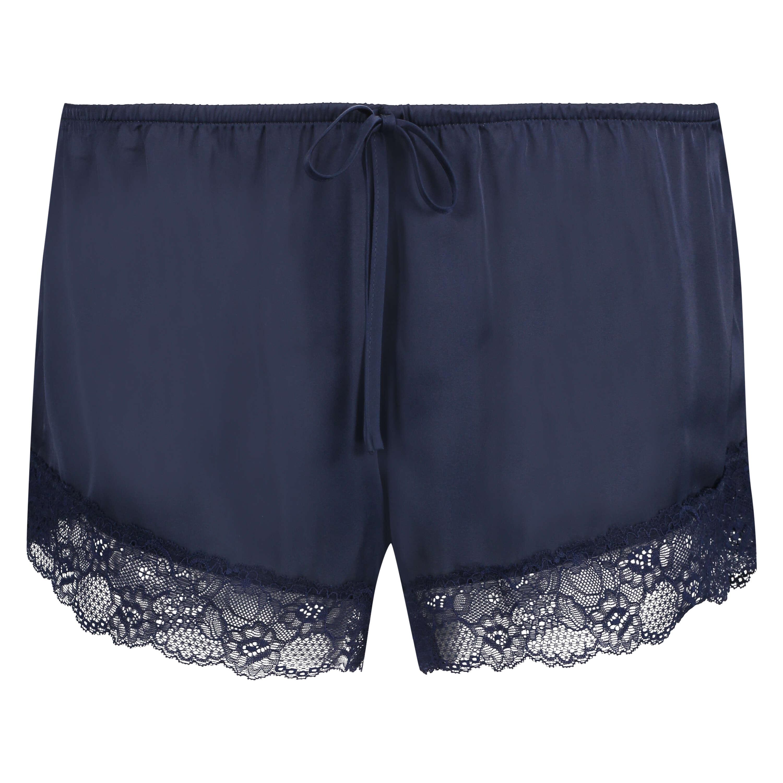 Satin pyjama shorts, Blue, main