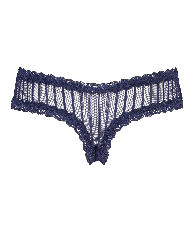 V-shaped Brazilian knickers mesh, Blue, main