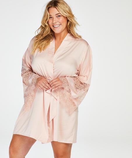 Satin Lace Kimono, Pink
