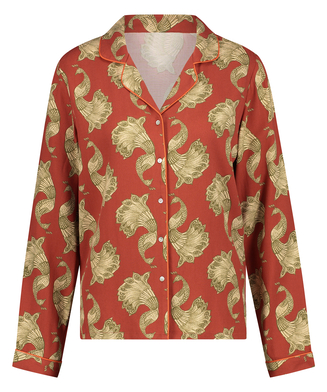 Twill Long-sleeved Pyjama Top, Pink