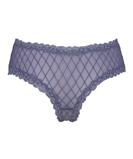 V-shaped Brazilian knickers mesh, Blue