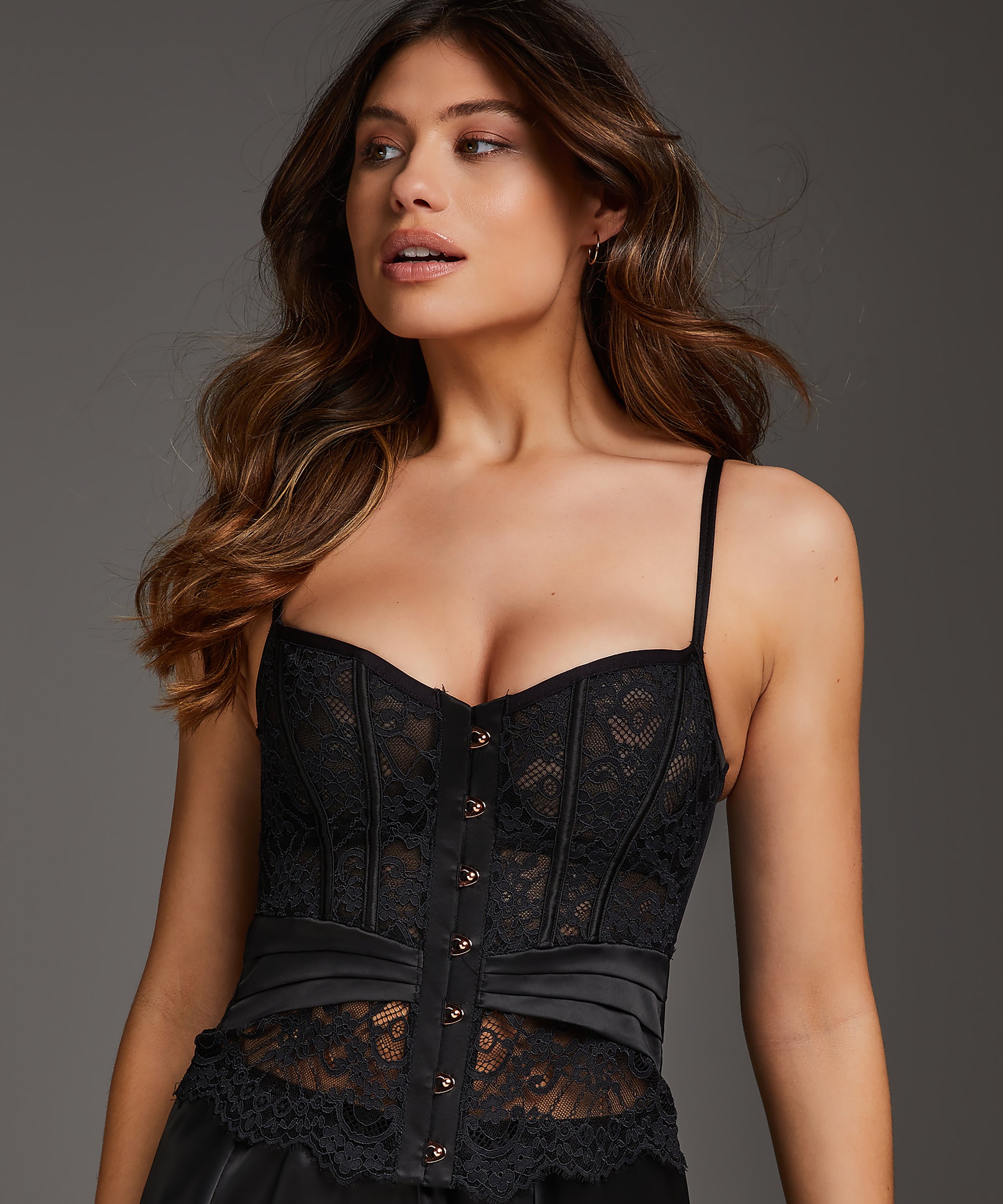 Amelia Padded Underwired Bustier, Black, main