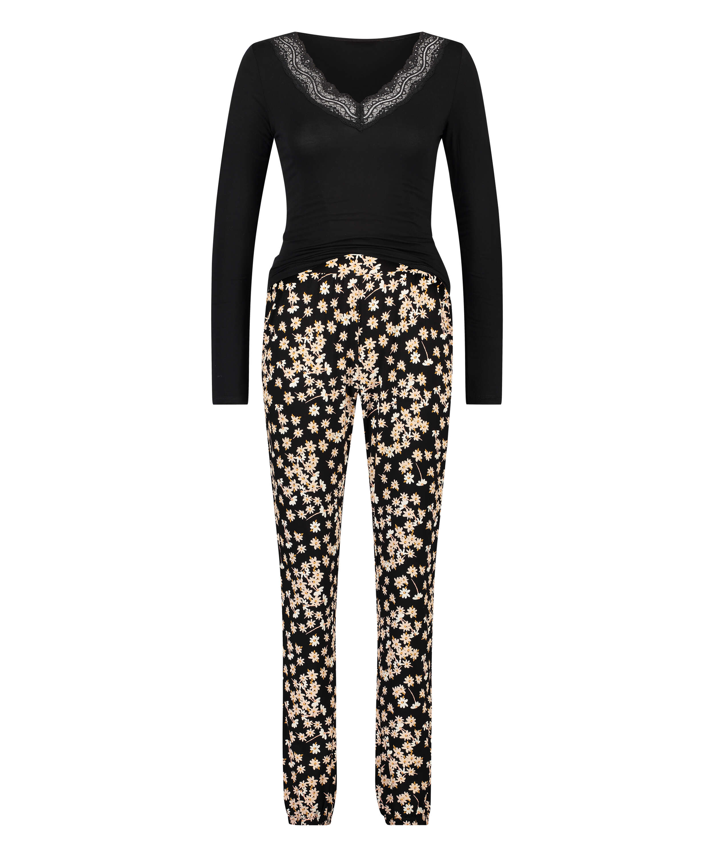 Lace Pyjama Set, Black, main