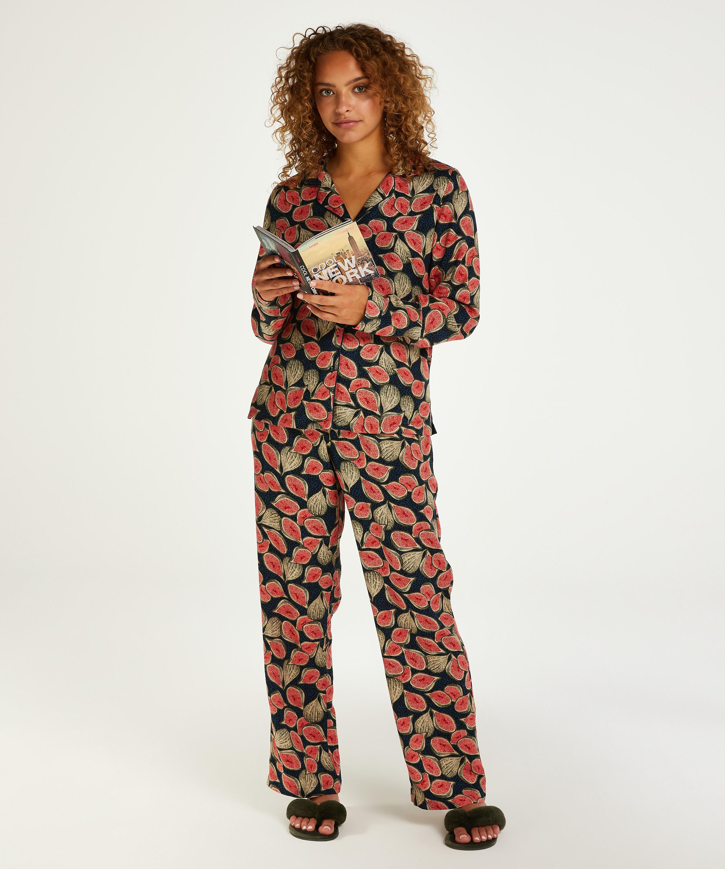 Twill Long-sleeved Pyjama Top, Blue, main