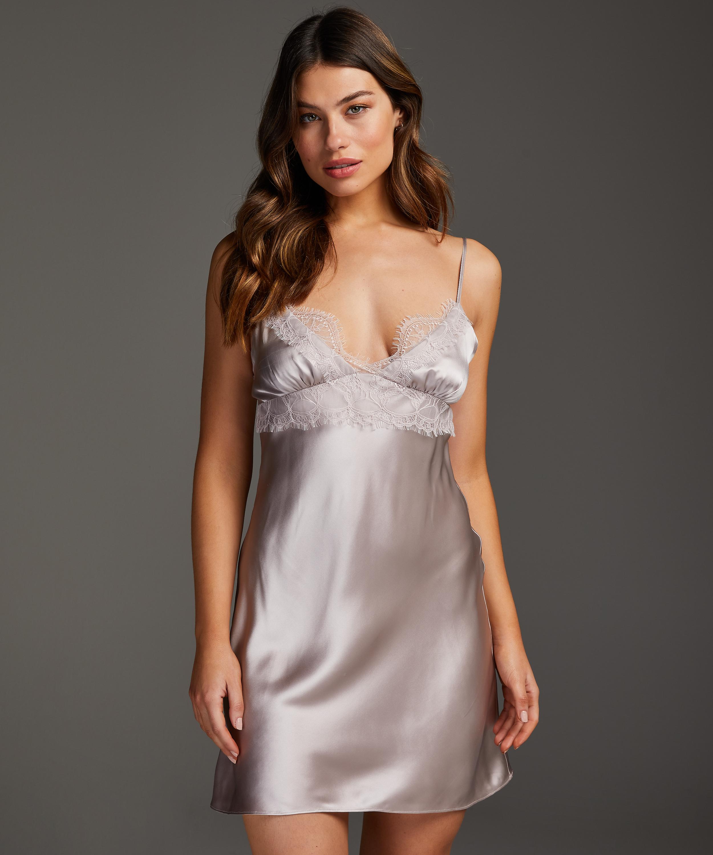 Silk Lace Slip Dress, Pink, main