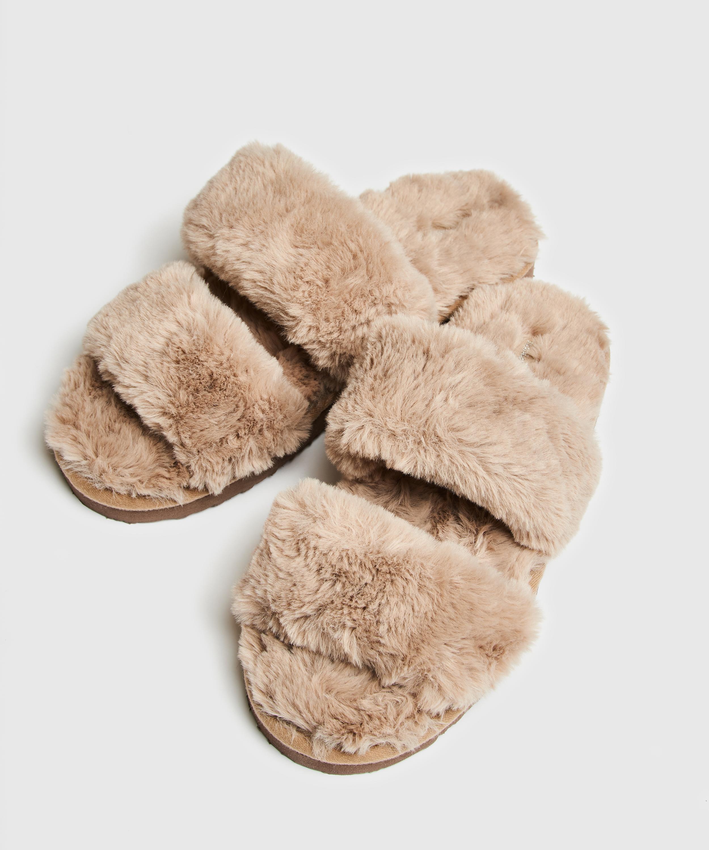 Fake Fur Slippers, Brown, main