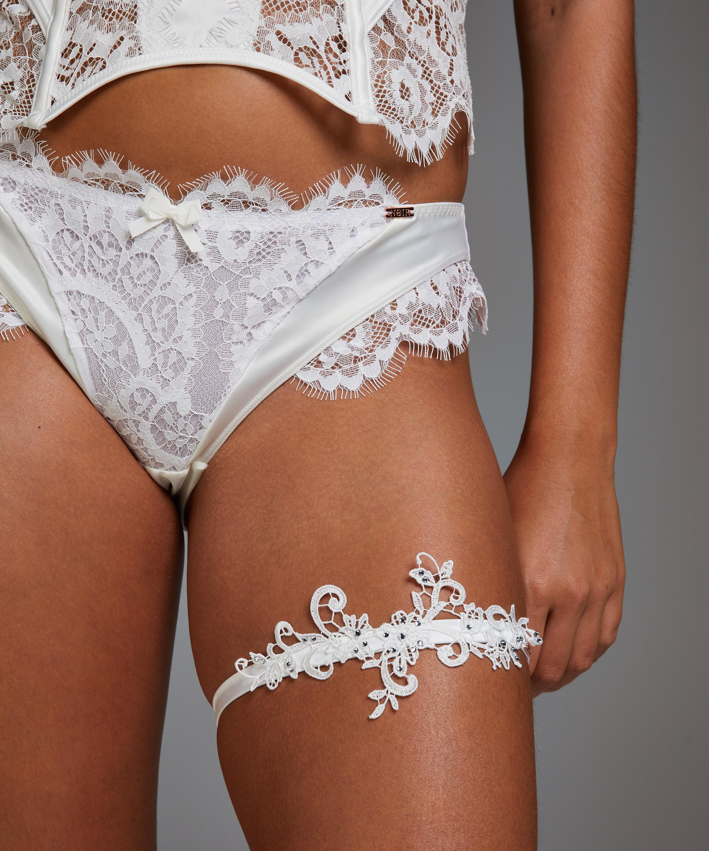 Noir Guipure Lace Garters, White, main