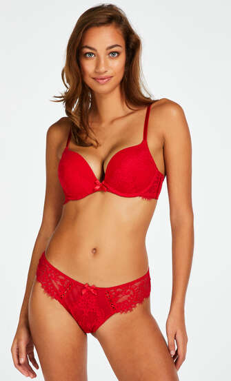 Leyla padded underwired maximizer bra, Red