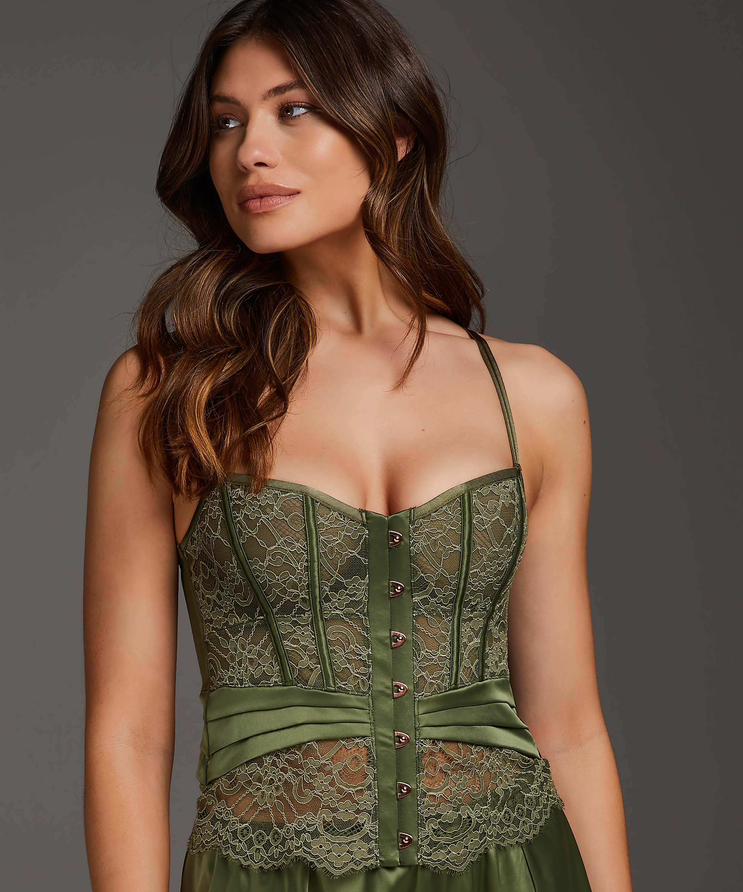 Amelia Padded Underwired Bustier, Green, main