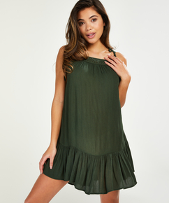 Mini dress with braided shoulder straps, Green
