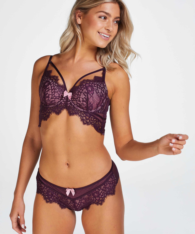 Marilee Padded Underwired Longline Bra, Purple, main