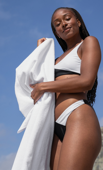 High-cut Rio bikini bottoms 2Tone HKM x NA-KD, White
