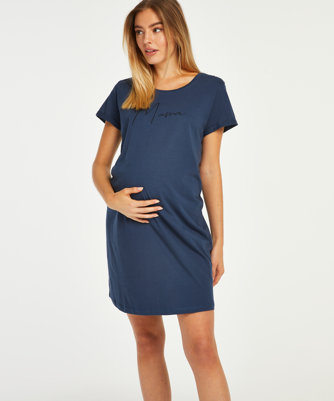 Short-Sleeved Maternity Nightshirt, Blue, main