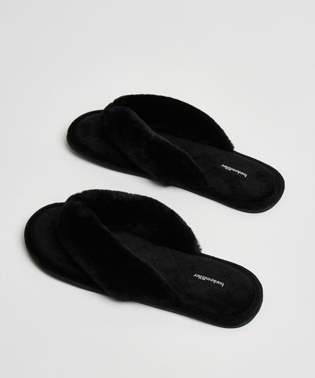 Fur Velours slippers, Black