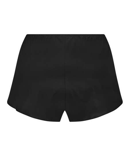 Amelia Tap Satin Shorts, Black