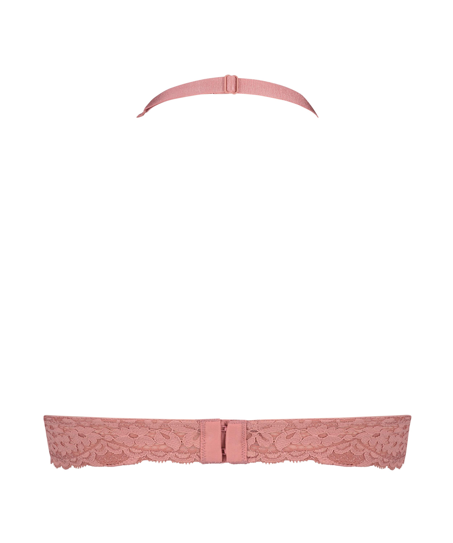 Rose Padded Halter Bralette, Pink, main