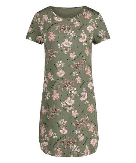 Flower Words Short-Sleeved Nightshirt, Green
