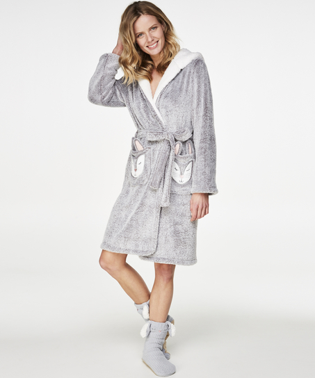Fleece Bathrobe, Grey