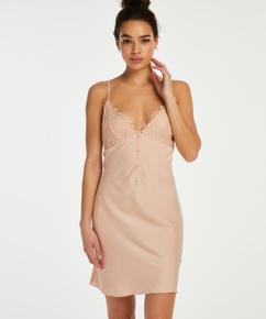 Satin button down slip dress, Beige