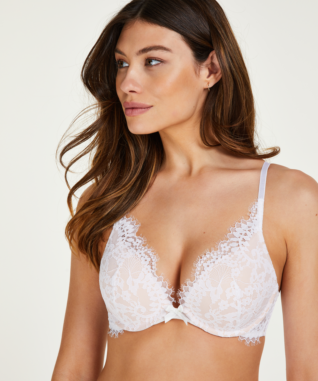 Leyla padded push-up underwired bra, White, main