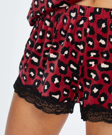 Velvet lace shorts, Red