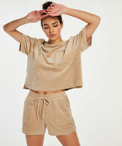 Top Velours Pocket, Beige