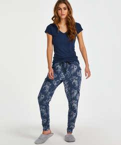 Indigo Floral Pyjama Pants, Blue