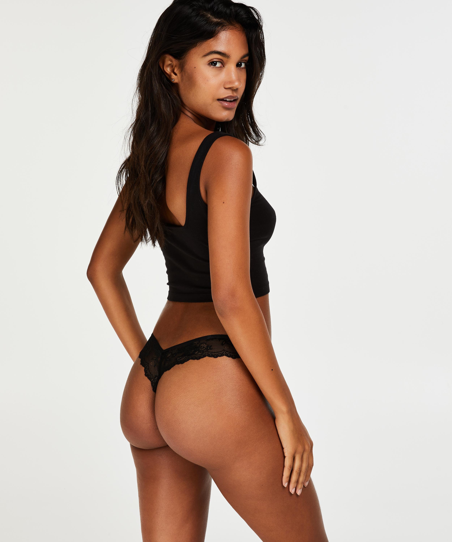 Lace Back Invisible Thong, Black, main