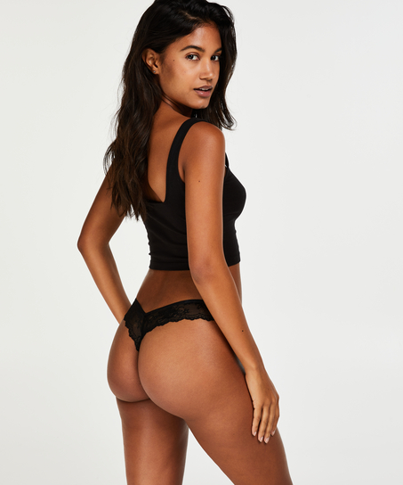 Lace Back Invisible Thong, Black