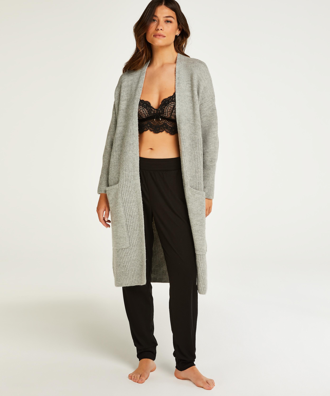 Premium Fluffy Long Vest, Grey, main