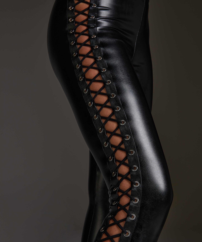 Lace-up leggings, Black, main